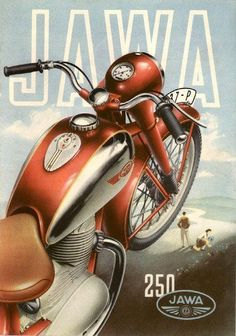 A-Z of historic classic vintage veteran motorcycles motorbikes JAWA Bike Poster, Motorcycle Posters, Motorcycle Art, Bike Art, Retro Advertising, Vintage Advertisements, Vintage Ads, Moto Jawa, Jawa 350