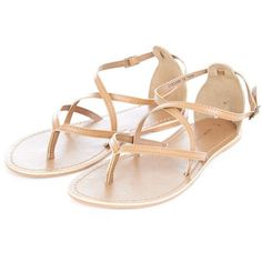 Tan Leather Cross Strap Sandals ($12) ❤ liked on Polyvore featuring shoes, sandals, flats, sapatos, tan flats, leather strap sandals, flat pumps, leather sandals and leather shoes