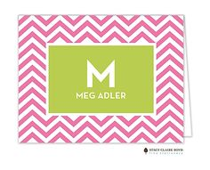 Stacy Claire Boyd | Folded Notes | Chevron Stripe - Hot Pink Folded Note (SCB) | The PrintsWell Store