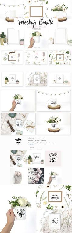White and botanical mockup bundle by Milee Kae on @creativemarket