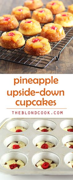Pineapple Upside-Down Cupcakes - a cute dessert that's so EASY to make!