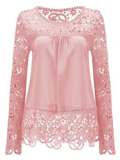 Summer Chiffon Lace Blusa Blouse Chemise Femme Plus Size Blusas Long Sleeve Women Tops Shirt Women Clothes Just look, that`s outstanding! Pink Lace Tops, Lacy Tops, Crop Tops, Chiffon Blouses, Lace Chiffon, Chiffon Shirt, Women's Blouses, Fashion Blouses, White Blouses