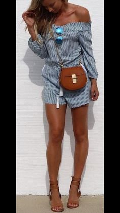 Off the shoulder chambray and white print long sleeved shorts romper. Perfect for transition from Summer to fall. nude/saddle heels. Stitch Fix 2016 fashion