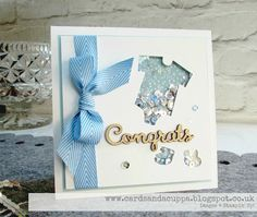 Baby Boy Shaker Card using Stampin' Up's Baby's First Framelits and the new Foam Strips!