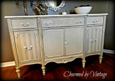 Charmed by Vintage Liked · 9 hours ago by Charmed by Vintage I painted this piece in Country Grey and Old White. The piece had such pretty moldings and interest that I thought it was fitting to keep the paint soft and pretty.