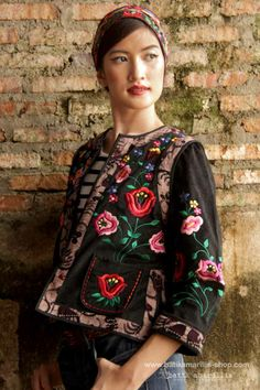 Batik Amarillis's folklore 2014 vol 2 splendid black velvet Hungarian embrodery jacket with Tenun batik gedog Tuban of Indonesia accented with unique wooden buttons ..enjoy our beautiful ethnic inspired collection and spectacular Hungarian folk art embroidery..