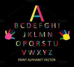 Paint colorful font vector alphabet by @Graphicsauthor