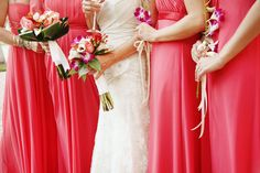 Floor Length Coral Bridesmaid Dresses