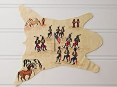 Vtg 'Rainbow Hand' PAINTED HIDE Flag Horses Indians Dollhouse Miniature Tepper #NativeAmerican