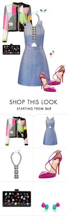 """""""Glittering."""" by srtagraham ❤ liked on Polyvore featuring Moschino, Miss Selfridge, Nocturne, Christian Louboutin, Edie Parker and TOUS"""