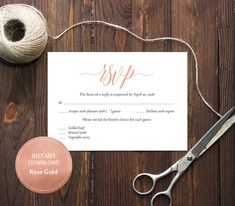 INSTANT DOWNLOAD Pdf Template 3,5x5 RSVP Card Wedding Rsvp postcards Editable Calligraphy Reply Card Printable Digital Rose Gold #DP140_25 by DreamPrintable on Etsy