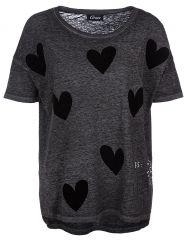 Damen Oversize T-Shirt mit Rundhalskragen Dunkelgrau