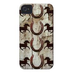 Horses Horseshoes on Barn Wood Cowboy Gifts iPhone 4 Case #SOLD on #Zazzle
