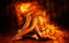 Woman And Fox On Fire X Digital Art Wallpaper