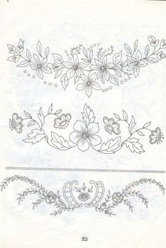 vintage transfer patterns for embroideryprintable vintage embroidery patterns Border Embroidery Designs, Floral Embroidery Patterns, Embroidery Transfers, Machine Embroidery Patterns, Vintage Embroidery, Bordados Tambour, Tambour Embroidery, Ribbon Embroidery, Cross Stitch Embroidery
