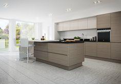 Burbidge's Isala Kitchen in Warm Grey Oak - with Malmo Gloss Cashmere - Cupboards, Drawers, Island, Breakfast Bar - Milly Bar Stool
