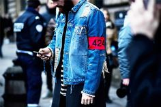 Add some personality to your beaten-up denim jacket by way of quirky patches.