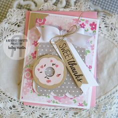 Card by Kathy Martin. Reverse Confetti stamp set: Donut You Know. Confetti Cuts: Donut You Know and Tag Me, Too. Thank you card.