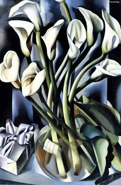 Calla Lillies (not dated) by artist Tamara Lempicka aka Tamara de Lempicka, (b.May 1898 Warsaw Poland - d. March Cuernavaca, Mexico) was a Polish Art Deco painter. Lys Calla, Calla Lillies, Calla Lily, Art Deco Artists, Art Deco Paintings, Art Floral, Pinturas Art Deco, Tamara Lempicka, Moda Art Deco