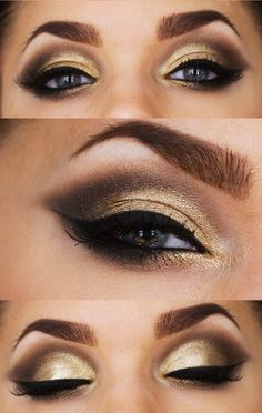 gorgeous gold, brown and black make up