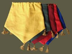 Medieval Linen Tasseled Pouch -- simple and quick, though I'd probably want to embroider something on em.