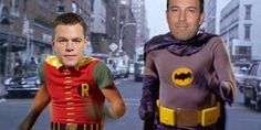 Photoshop mashup of Ben Affleck and Matt Damon with Adam West and Burt Ward as Batman and Robin. Adam West Batman, Ben Affleck Batman, The New Batman, I Am Batman, Batman Robin, Funny Batman, Batman Jokes, Robert Kazinsky, Superman