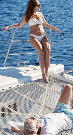 Basking the the Greek sun on a yacht from Sunset Oia Sailing Cruises