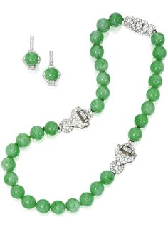 Platinum, White Gold, Jadeite and Diamond Necklace and Earrings, Cartier | Lot | Sotheby's