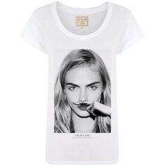 Eleven Paris Cara Mustache Tee ($49) ❤ liked on Polyvore featuring tops, t-shirts, shirts, tees, white, white crew neck t shirt, fitted shirt, graphic t-shirts, fitted white t shirt and white t shirt