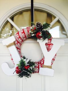 Joy Wreath Red Berry Wreath Christmas Wreath for by EightPalms