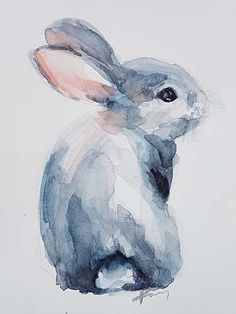 Watercolor Painting Techniques, Watercolour Painting, Painting & Drawing, Bunny Sketches, Art Drawings Sketches Simple, Animal Paintings, Animal Drawings, Easter Drawings, Bunny Painting