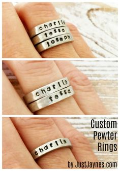 Personalized these pewter rings with your childrens' names. They'll be with you everywhere you go! Custom stamped pewter rings.