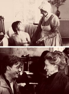 """Well she got me the job at Potter, practically, so for anyone who doesn't know that story, I basically owe everything to Maggie Smith because I worked with her on David Copperfield and then she came on to Potter as McGonagall and said to the director, 'You need to audition this boy.' So I kind of owe her everything, so to Maggie I just say my fairy godmother."" —Daniel Radcliffe (on the first thing that comes to mind about Maggie)  [Click the link for more]"
