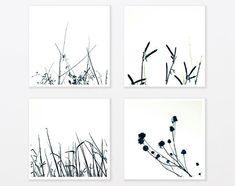 Nature Photography Set - Black and White Zen Grass 6 gift for him Home Decor 8x8 Minimalist art