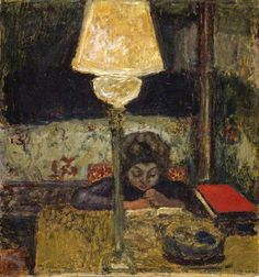 The Oil Lamp Pierre Bonnard (French, Oil on panel. This work of a girl reading under a lamp is one of a group of paintings of interiors executed between 1898 and in which oil lamps feature as. Acrylic Painting Lessons, Watercolor Paintings Abstract, Watercolor Artists, Landscape Paintings, Abstract Oil, Painting Art, Pierre Bonnard, Elizabeth Peyton, Edouard Vuillard