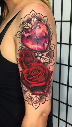 #tattoo #13tattoostudio #szczecin #poland #tattoosbymarlena #rose #red #mandala #diamond