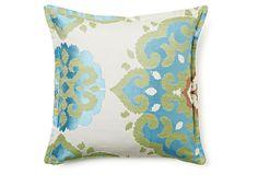 Medallion 16x16 Pillow, Blue/Green on OneKingsLane.com