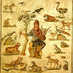 Orpheus and the animals, Roman floor mosaic Museo Archeologico Regionale di Palermo photographed by di Giovanni Dall'Orto