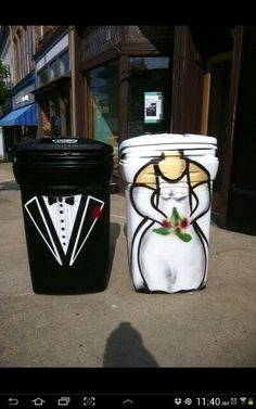 Jeffrey graffiti trash cans, genius trend starter, our old neighborhood looked snazzy on trash day, after local news story, he couldn't paint them fast enough lol. Wish I had more pics of the others, these were custom request from newlyweds