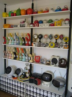 """My Wall of Design ;-) Space Age Collection Weltron radio, Valenti Hebi lamps, Brionvega cube radio, JVC Space helmet TV, Panasonic vintage T..."""