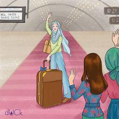Duckscarves instagram illustration by Soefara Cute Muslim Couples, Muslim Girls, Cute Cartoon Girl, Couple Cartoon, Duck Scarves, Hijab Drawing, Duck Art, Girly M, Anime Muslim