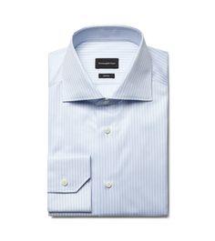 Zegna White/Blue Trofeo Cotton Shirt
