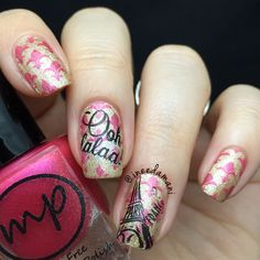 Paris nail art! Done using nail stamping plates from the bornprettystore.com. Lovely! <3