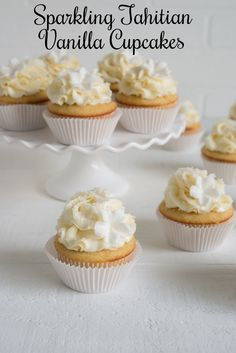 Sparkling Tahitian Vanilla Cupcakes with Tahitian Vanilla Swiss Meringue Buttercream #vanillaweek | Pineapple and Coconut