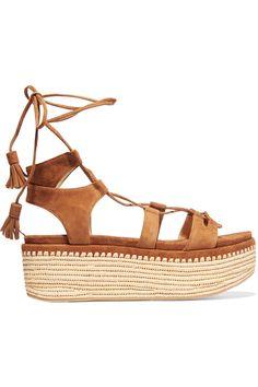 STUART WEITZMAN Romanesque suede platform sandals. #stuartweitzman #shoes #sandals