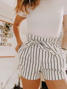 This is how you always look stylish - Clothes / Outfits - . - This is how you always look stylish – Clothes / Outfits – - Cute Casual Outfits, Cute Summer Outfits, Short Outfits, Cute Shorts Outfits, Cute Summer Clothes, Cute Clothes, Summer Shorts, Tie Shorts, Spring Outfits For Teen Girls