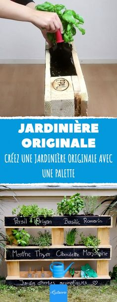 With this easy project, make yourself an outdoor furniture that will attract to .- Avec ce projet facile, fabriquez-vous un meuble d'extérieur qui va attirer to… With this easy project, make a piece of furniture … - Balcony Planters, Balcony Garden, Herb Garden, Potager Garden, Balcony Ideas, Potager Palettes, Bar Shed, Diy Furniture Couch, Outdoor Furniture