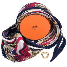 RARE! A Boxed Hermes Pleated Silk Scarf & Gold Hermes Scarf Ring | From a collection of rare vintage scarves at https://www.1stdibs.com/fashion/accessories/scarves/
