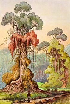 Lianas coat column trees in the Highlands of Ceylon by Ernst Haeckel, 1905. Haeckel hiking drawing from The Natural Wonders of the Tropical World, Ceylon and Indies: Gera-Untermhaus, Koehler'sche Verlagsbuchhandlung