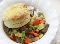 Two Potato Beef and Vegetable Pot Pie with Rosemary Biscuit Crust